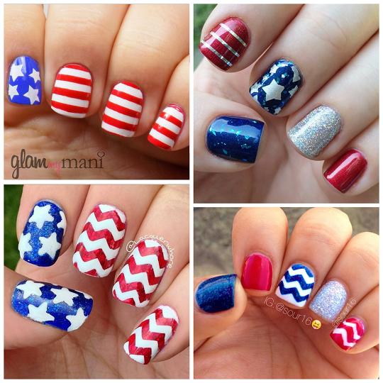 Patriotic 4th Of July Nail Ideas Blue Chevron Nails Plain Nails