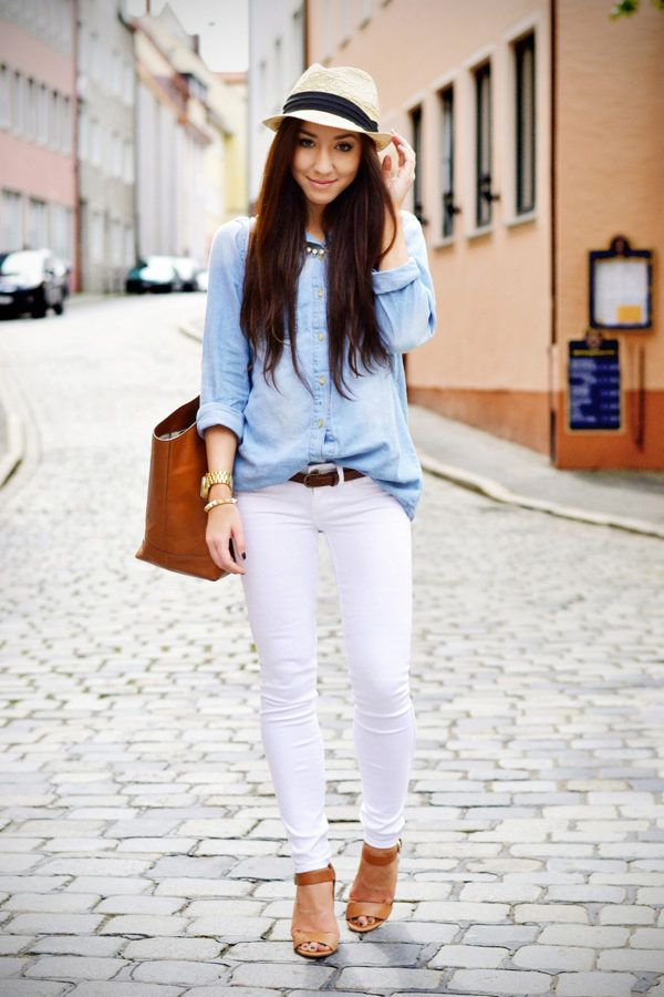 feb2fae5c1 White Skinny Jeans And Bleached Denim Shirt ( Bleached Denim Shirts    Blouses   Hats )