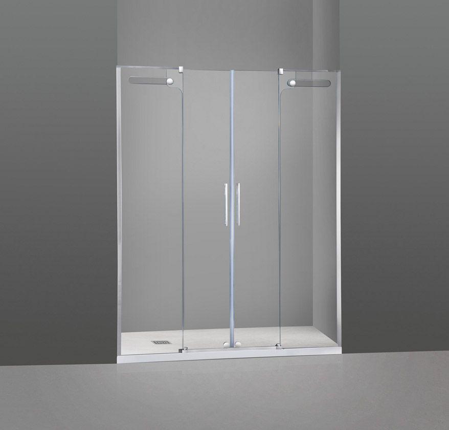 Mampara vetrum 2 cristales fijos 2 puerta correderas for Mamparas de ducha correderas sin perfiles