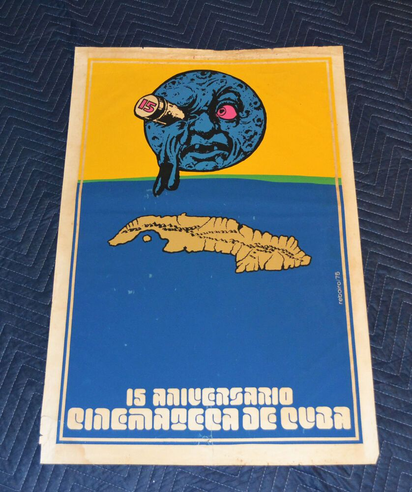 1975 Original Cuban Silkscreen Movie Poster.Cuba island.Cinemateca.Moon art film #ContemporaryArt #cubaisland
