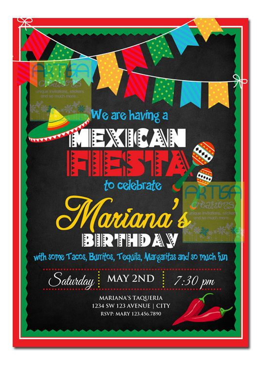 Mexican Fiesta Invitation Cinco De Mayo Party Theme Any Occasion Celebration