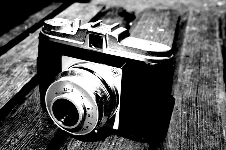 Old camera in black and white