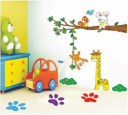 Exceptionnel Colorful Funny Animals Cartoon Pictures For Kids Bedroom Wall Paint  Stickers Decals Decorating Designs Ideas