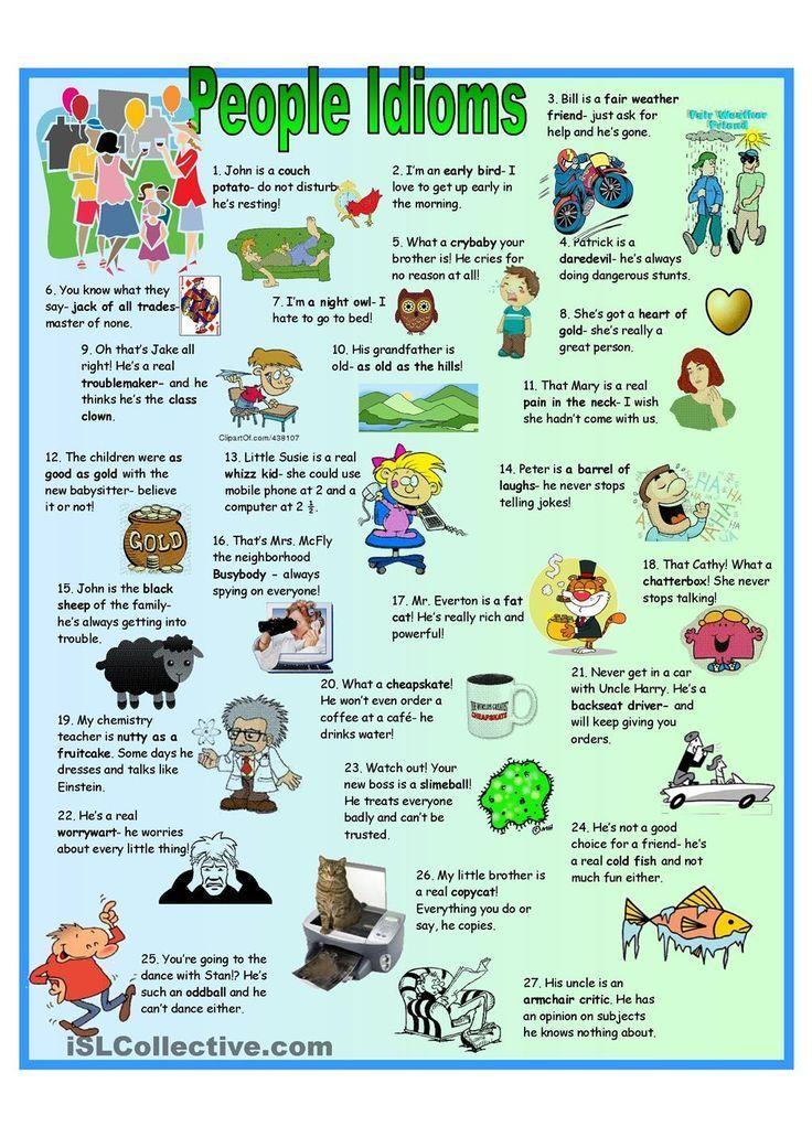 Printable Worksheets free idioms worksheets : People Idioms | FREE ESL worksheets | English writing and Grammar ...