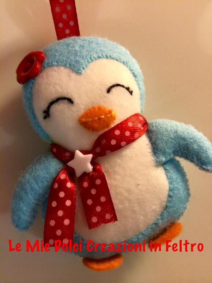 Pinguino portachiavi feltro