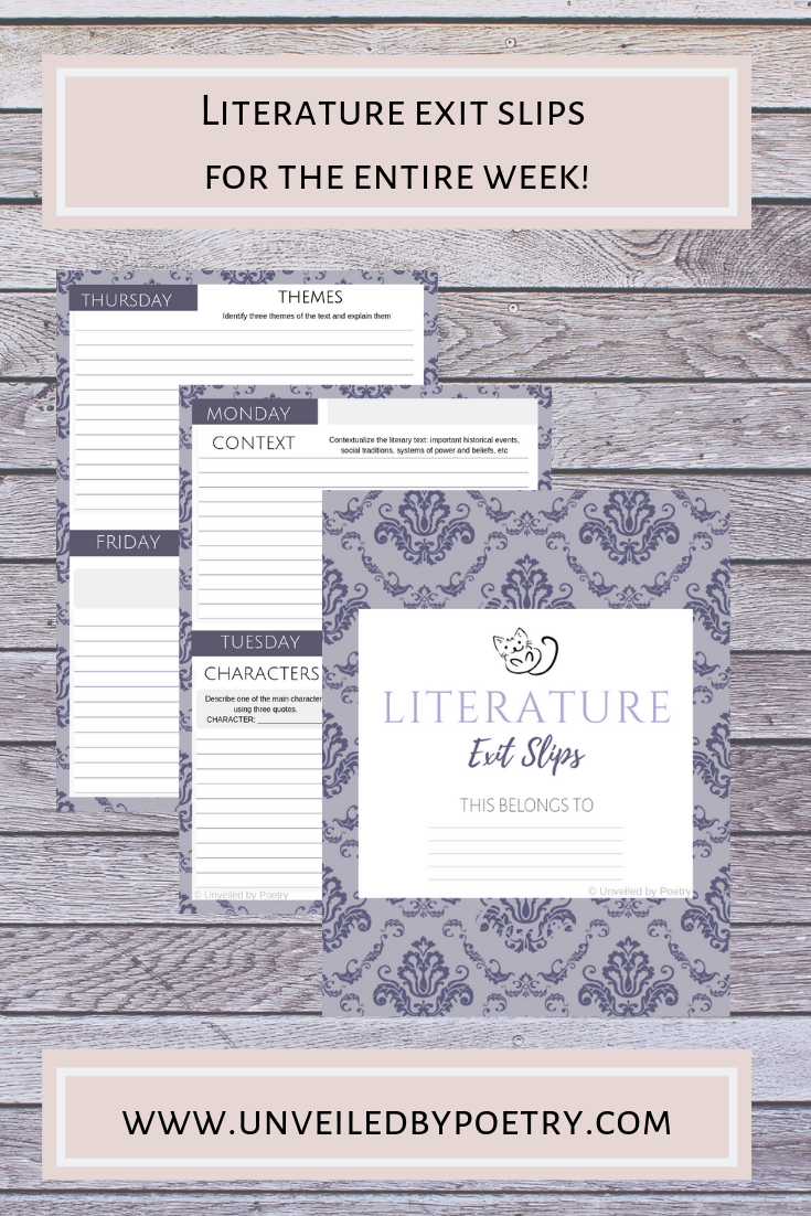 Editable Literature Exit Slips For The Entire Week High School Reading Student Learning Literature