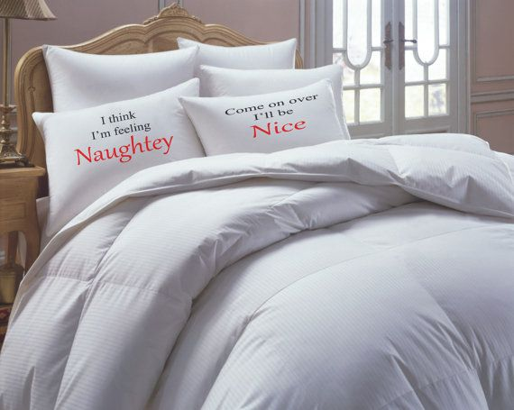 His Hers Pillowcase set Mr mrs Naughty Nice by RKGracePrints, #his hers #naughtey #nice