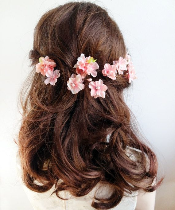 Cherry Blossom Hair Pins Pink Flower Hair Pin Cherry Blossom Etsy Pink Flower Hair Pink Hair Clips Flowers In Hair