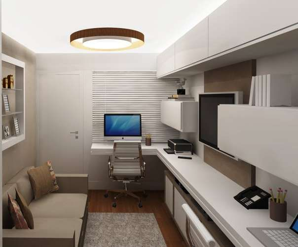 Veja 18 projetos de home office compactos Offices, 18  ~ Quarto Vintage Moderno Masculino
