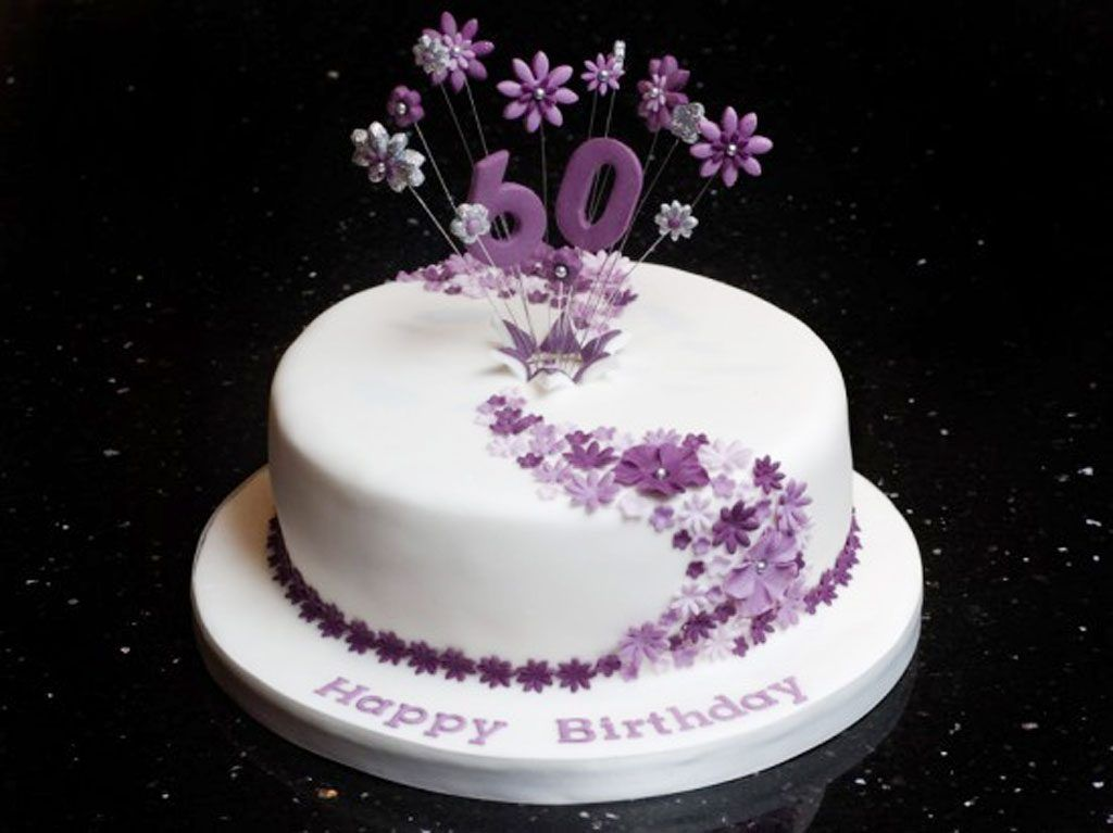 Decorated Birthday Cakes Round White Purple Flower Pattern Cake