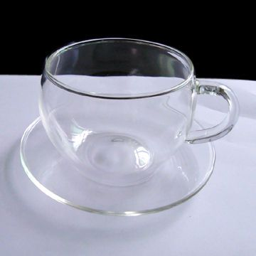 Clear Glass Coffee Mugs And Saucers Crystal Cup Saucer With Capacity