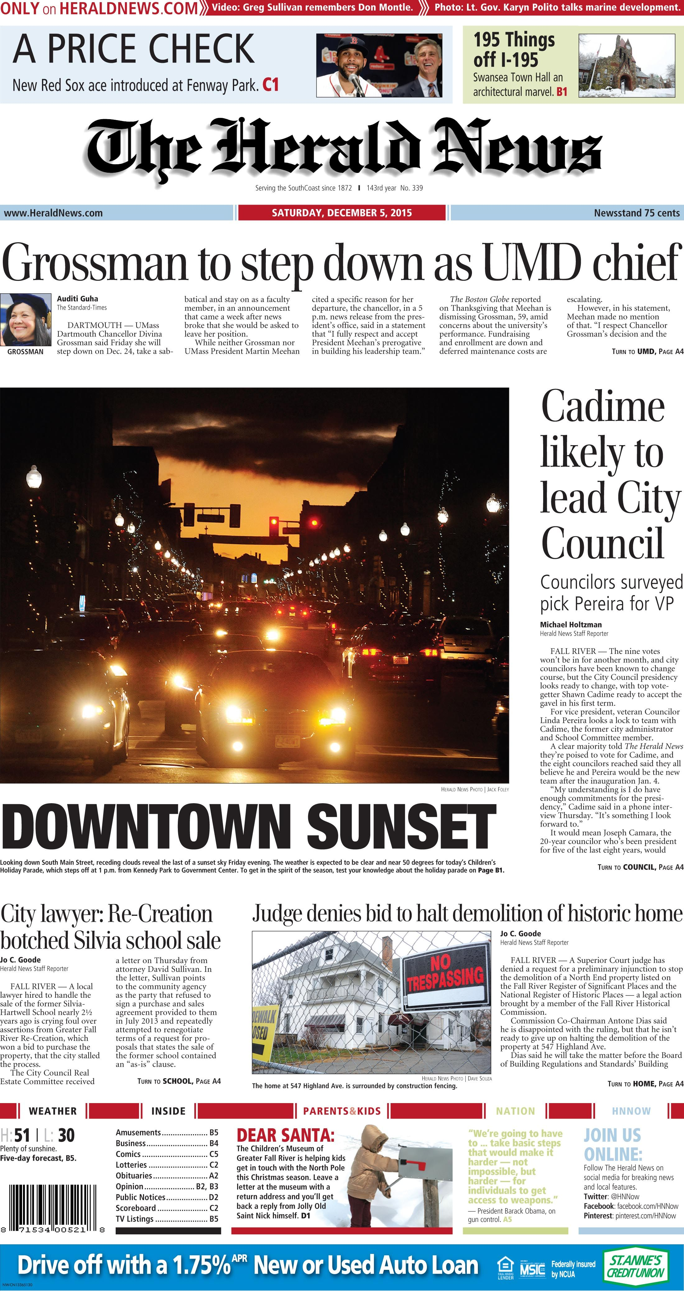 The front page of The Herald News for Saturday, Dec. 5, 2015.