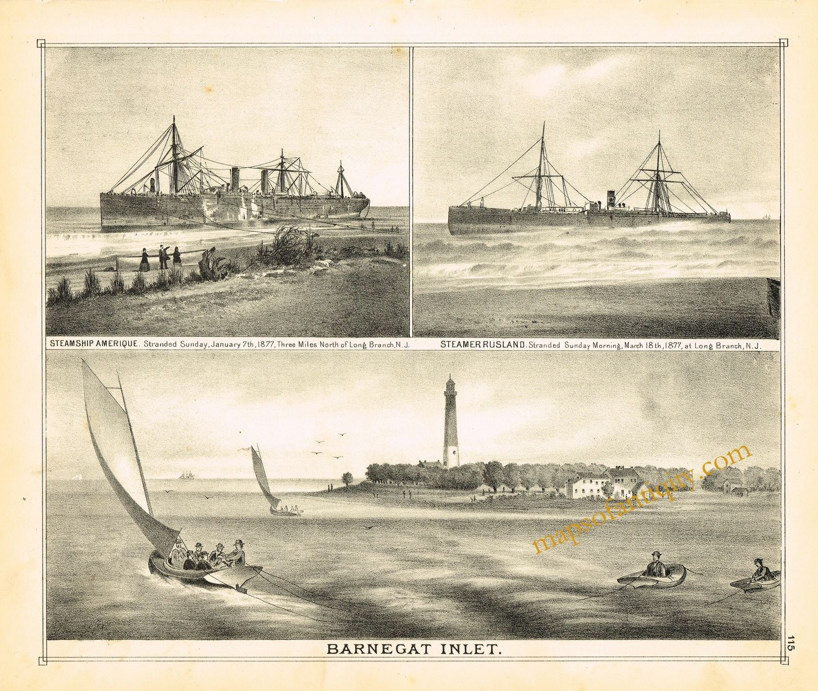 Maps Of Antiquity Antique Nautical Maritime Prints Barnegat Inlet N J Ships And Boats 1878 New Jersey Sailing Sailboats Antique Maps Prints Antiques