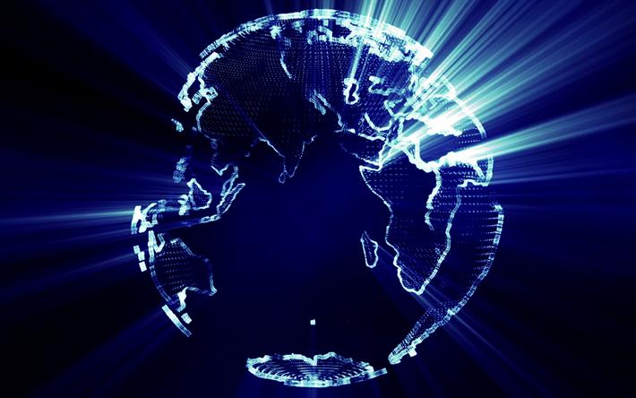 Scarica Sfondi Terra 4k 3d Globo Luci Blu Creativo 3d Arte