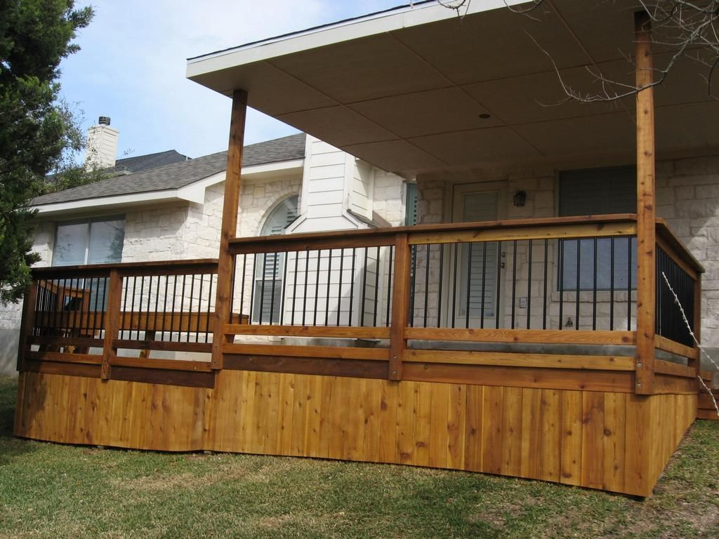Covered wood deck on mobile home home pinterest deck for Outside decking material