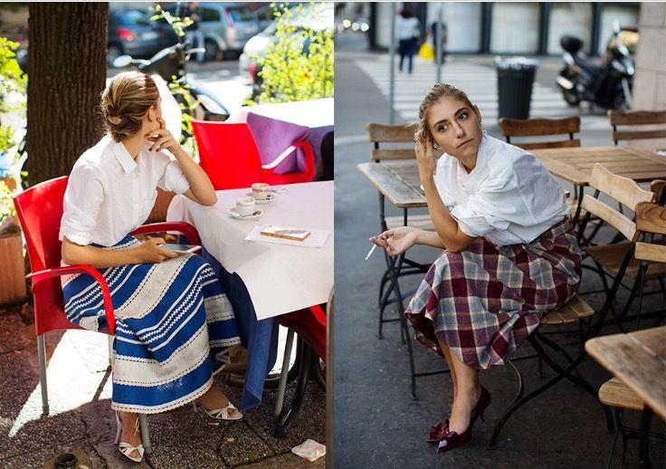 Camisa blanca y falda!