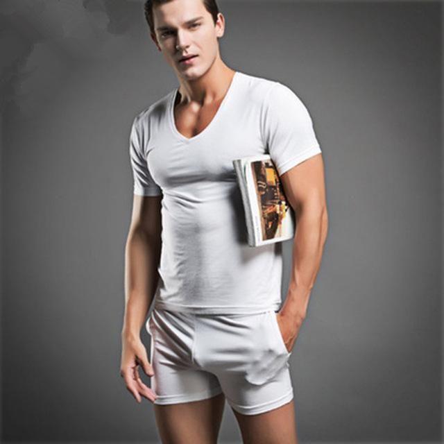 2017 Summer Mens Sexy Sleepwear Men s Cotton Nightwear Brand New Underwear  Undershirts Casual Men Pajama Sets Mens Pajamas 826fbaa65