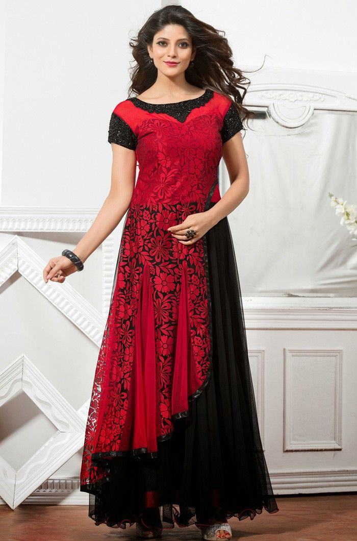 Black And Red Brasso Readymadegown Indian Designer Gowns