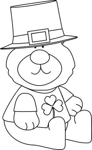 Black And White Saint Patrick S Day Bear Clip Art Black And White Saint Patrick S Day Bear Image Bear Coloring Pages Disney Coloring Pages St Patrick