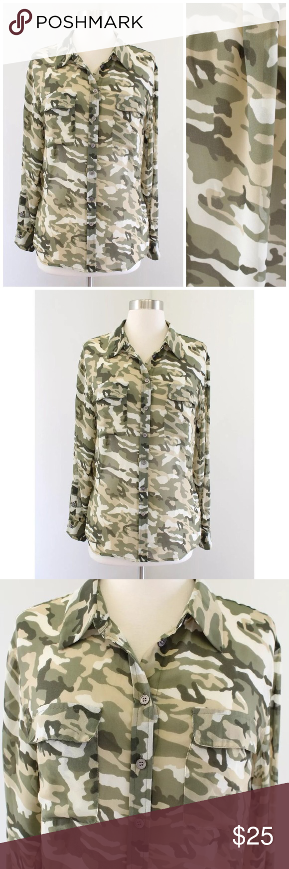 ad283075b92f8 Vince Camuto Sheer Camo Button Up Size small Pit to pit: 20