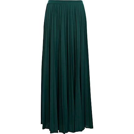 Dark green pleated maxi skirt - maxi skirts - skirts - women ...