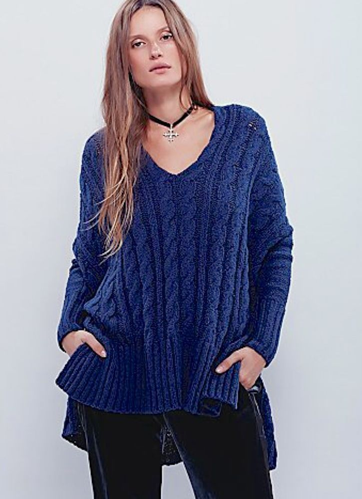 NEW Free People turkish sea teal Easy Cable V neck Pullover ...