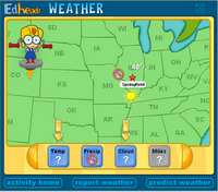 Weather map reporting and predicting interactive game for kids