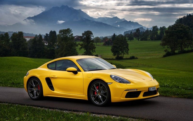 Yellow Sports Car Porsche Cayman S Porsche Cayman S