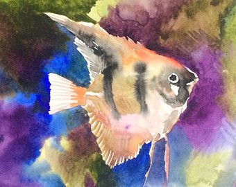 Angrlfish Oriignal Watercolor Painting 9 X 12 In Aquarium Fish