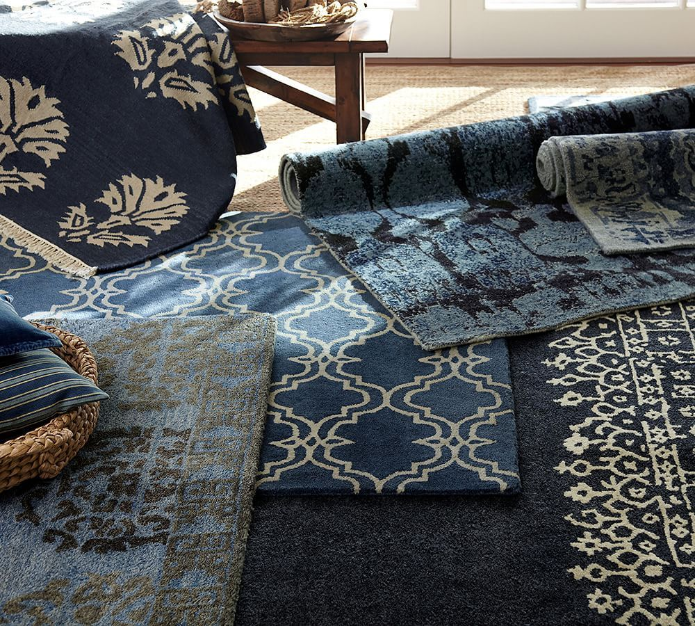 Layer Blue And Indigo Rugs In Different Shades And