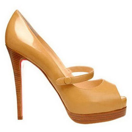 Christian Louboutin No Barre 140 Mary Jane Pumps Brown