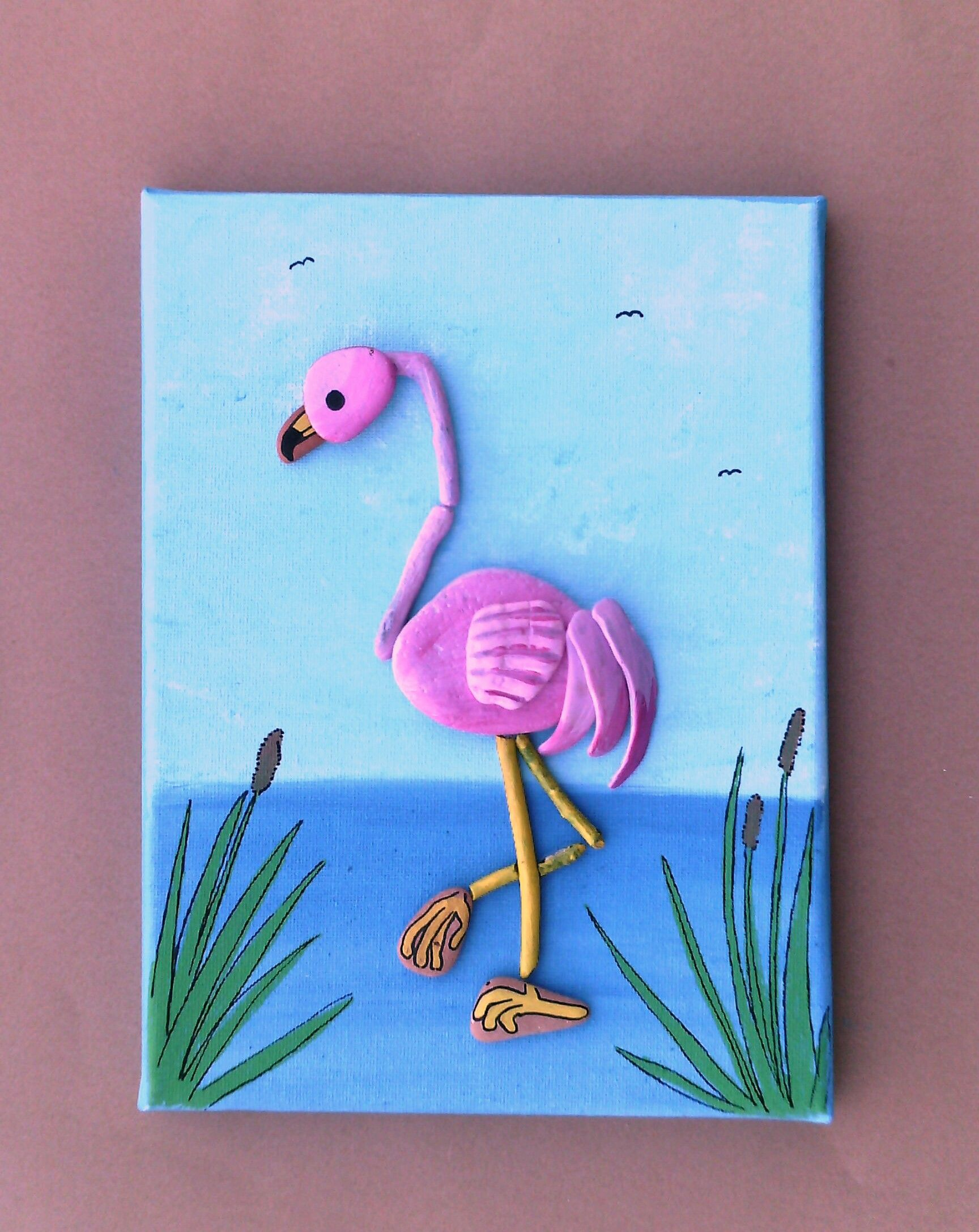 Flamingo beach find art by Kate dengra
