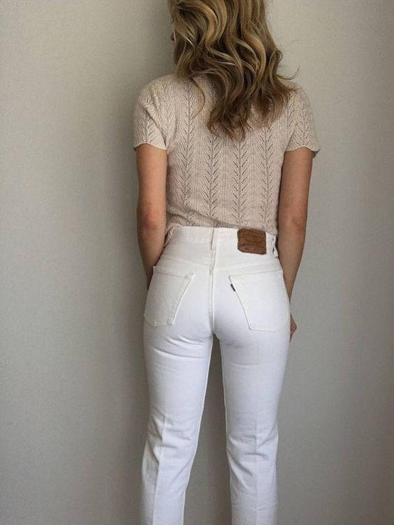 vintage white levis 501 jeans womens 25 26 waist high