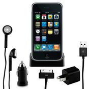 iPhone/iPod Power Bundle Accessory Kit w/ Dock, Headphones, USB Cable, Power Adapter & Car Charger!