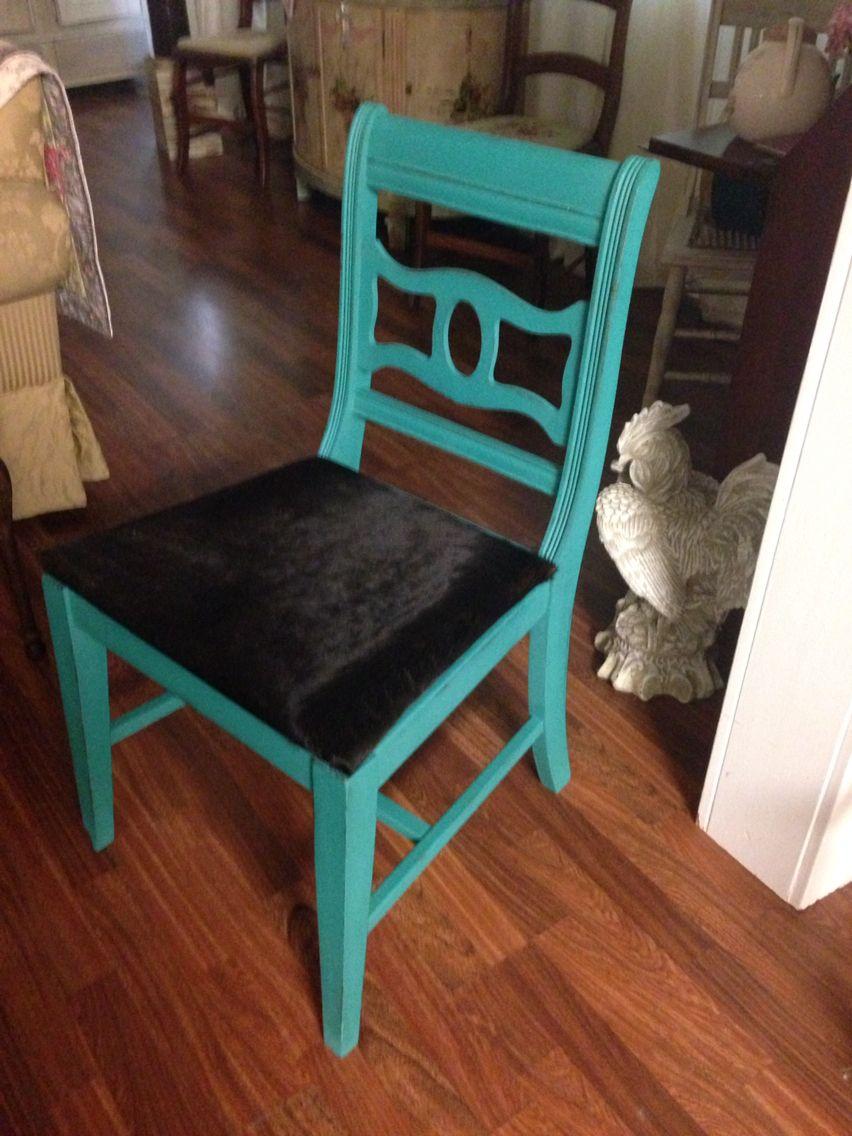 black cowhide accent chair