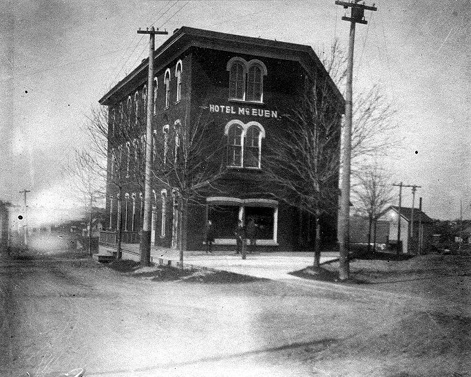 """Mason MI - Hotel McEuen - """"Used to be the Donaly  House"""" written on the reverse side.  Corner of Maple and State."""