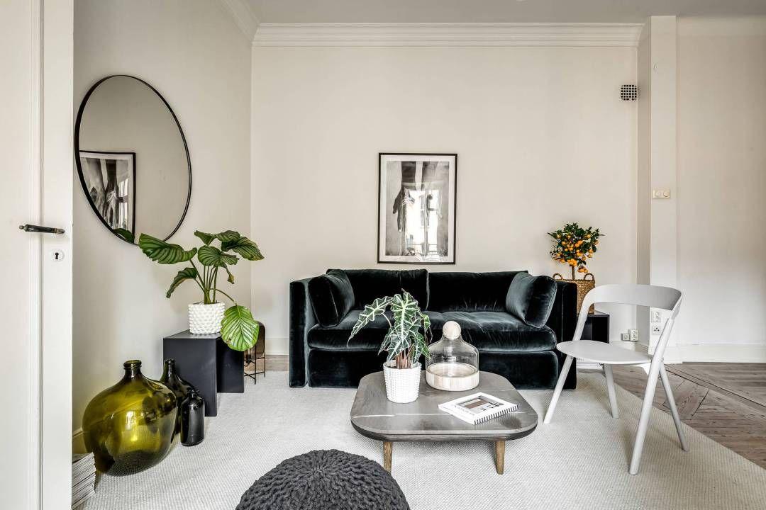 sof de terciopelo negro