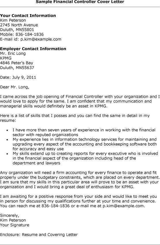 Sample Resume For Financial Controller - http://www.resumecareer ...