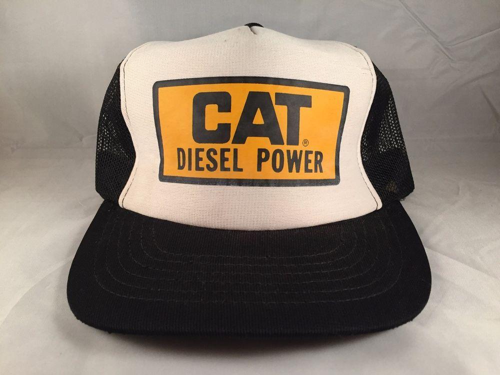 996661ce2 Vintage CAT DIESEL POWER Black Mesh Trucker Snapback Hat Cap ...