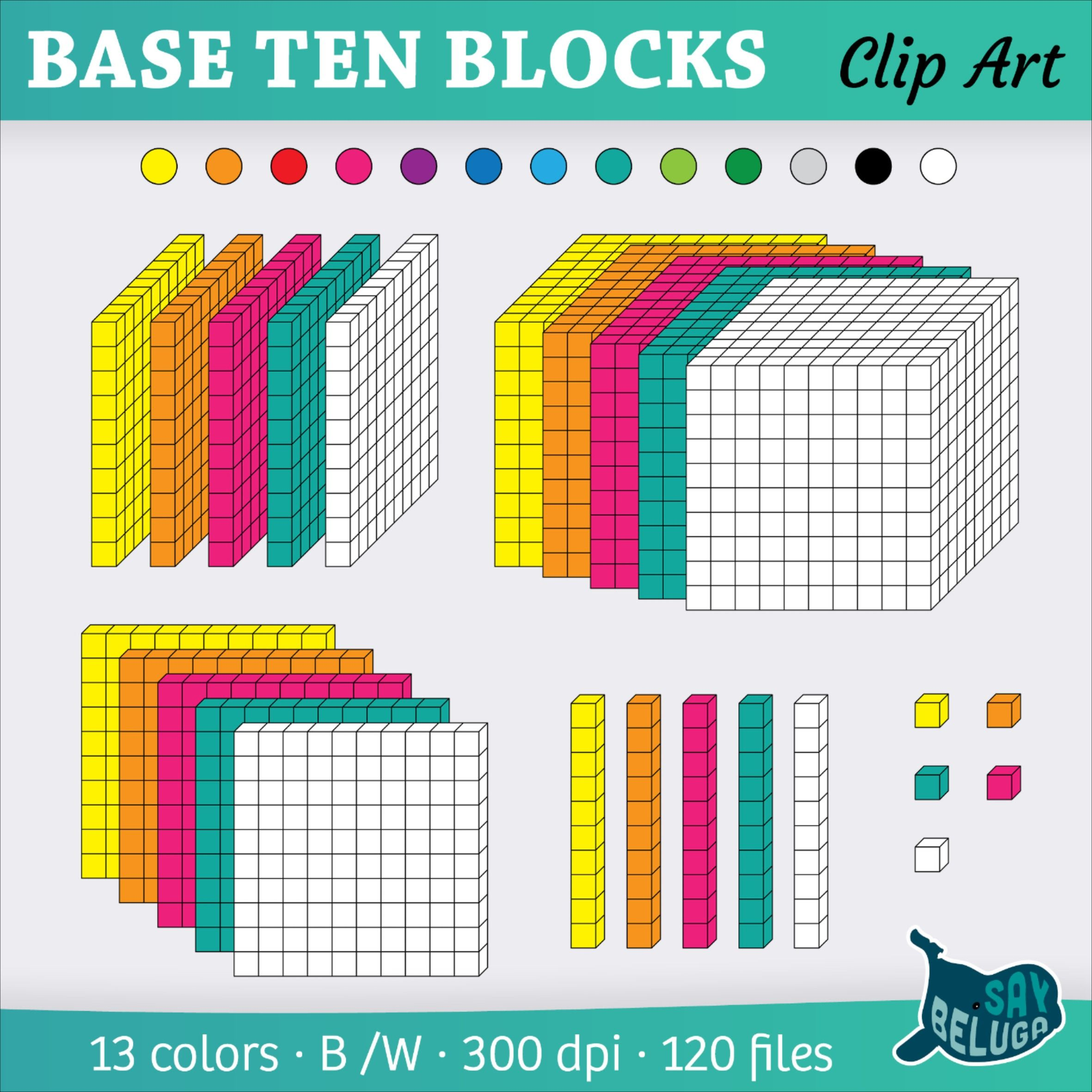 3d Base Ten Blocks Clip Art 13 Colors In