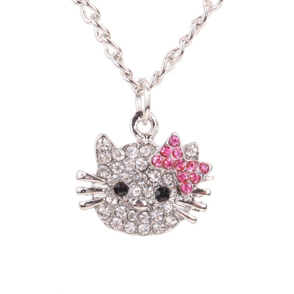 e7d097647 New Arrival Fashion Crystal Cat Rhinestone Hello Kitty necklace Bowknot KT  Jewelry For Girls Necklace free shipping //Price: $1.29 & FREE Shipping //  # ...
