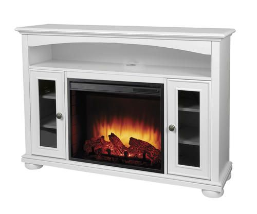 Easton Bleached Linen Media Electric Fireplace With Remote At