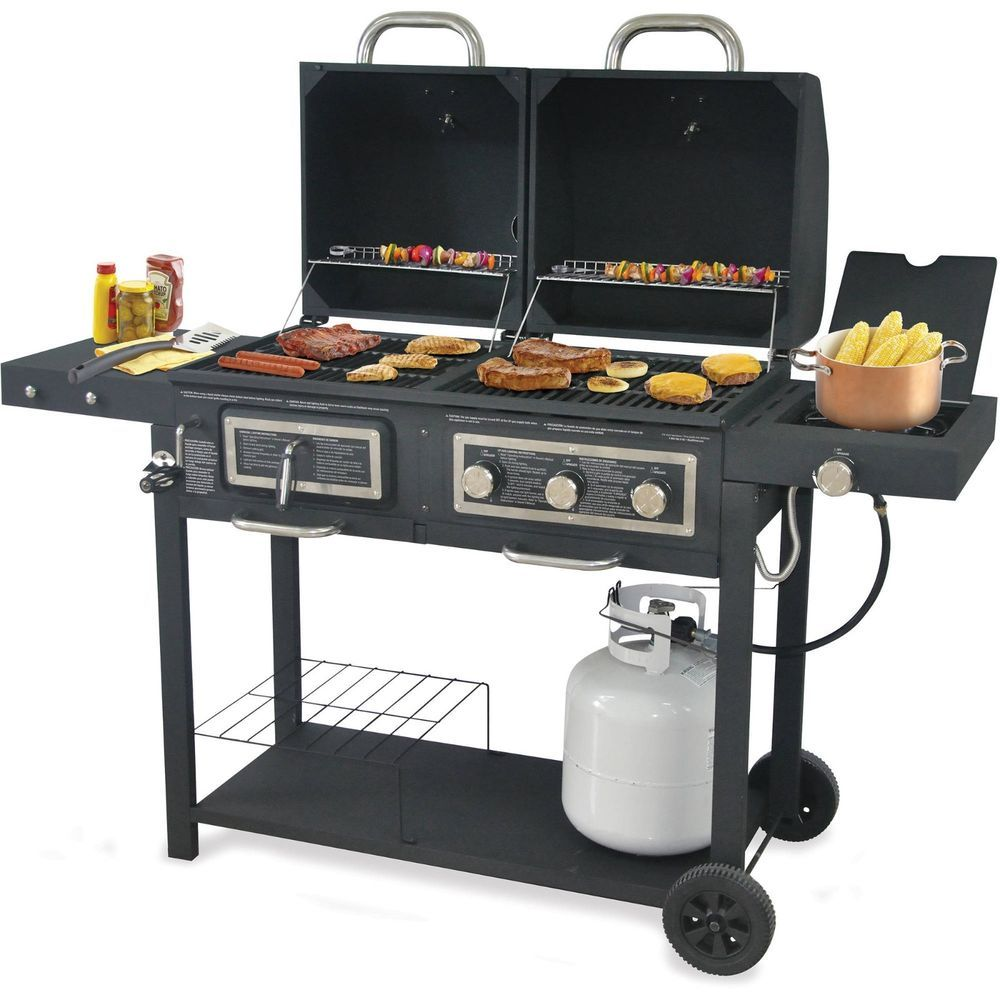 Outdoor Charcoal Bbq Propane Backyard Grill Dual Gas Burner Yard Camping Cooking Branded Cleaning Bbq Grill Backyard Grilling Gas And Charcoal Grill