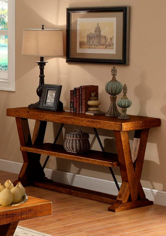 Console table rustic wood furniture antique - Consolas de madera ...