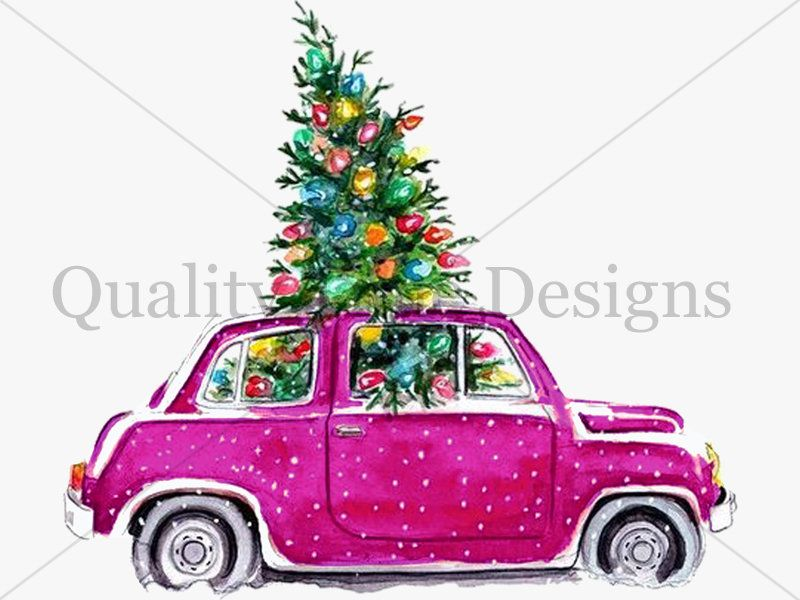 Pink Christmas Tree And Car Package Multi Color Pack Car Clipart