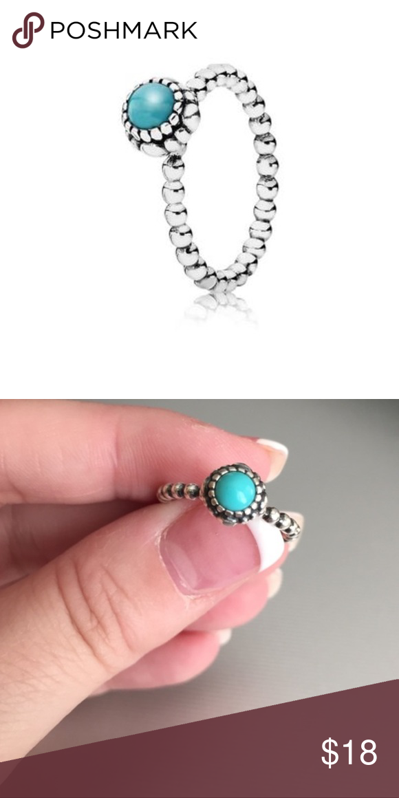 78efd3245 Pandora Birthday Blooms Ring • December • size 5 Birthday bloom ring from  Pandora, in a beautiful turquoise color! Size 5, or EU size 50.