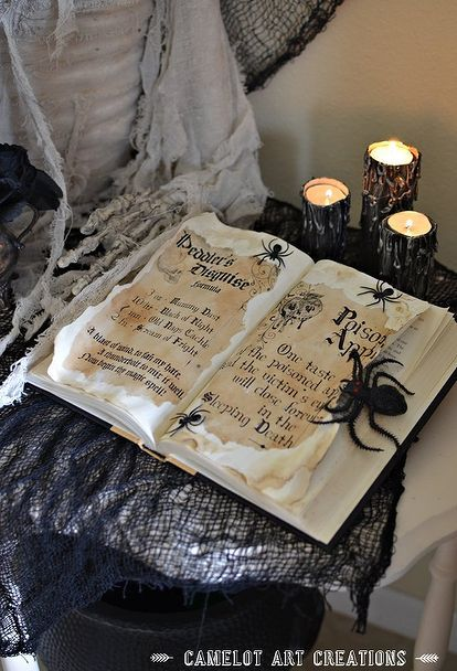 Mom paints the pages of an old book  her kids are gonna love this - halloween club decorations