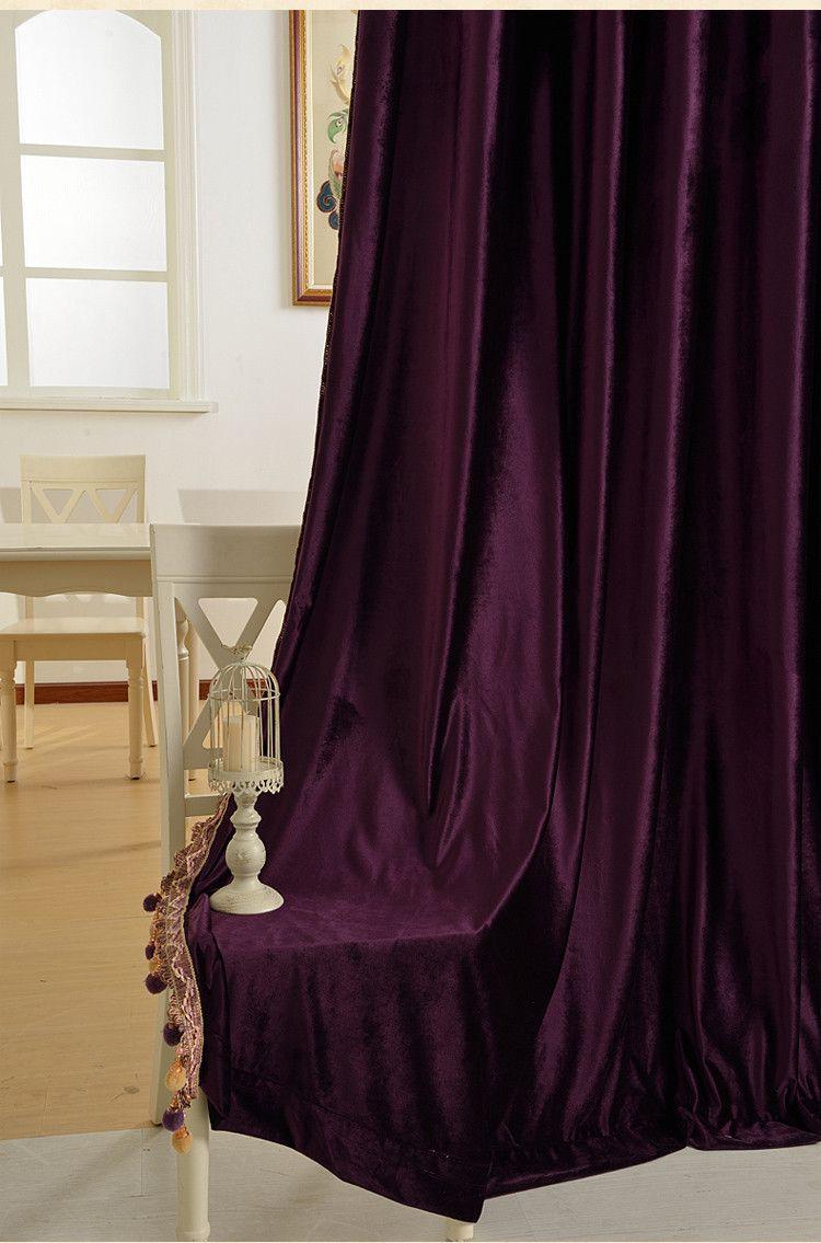 Pure Velvet Purple Gold Brown Gray European Living Room Bedroom Curtains Custom