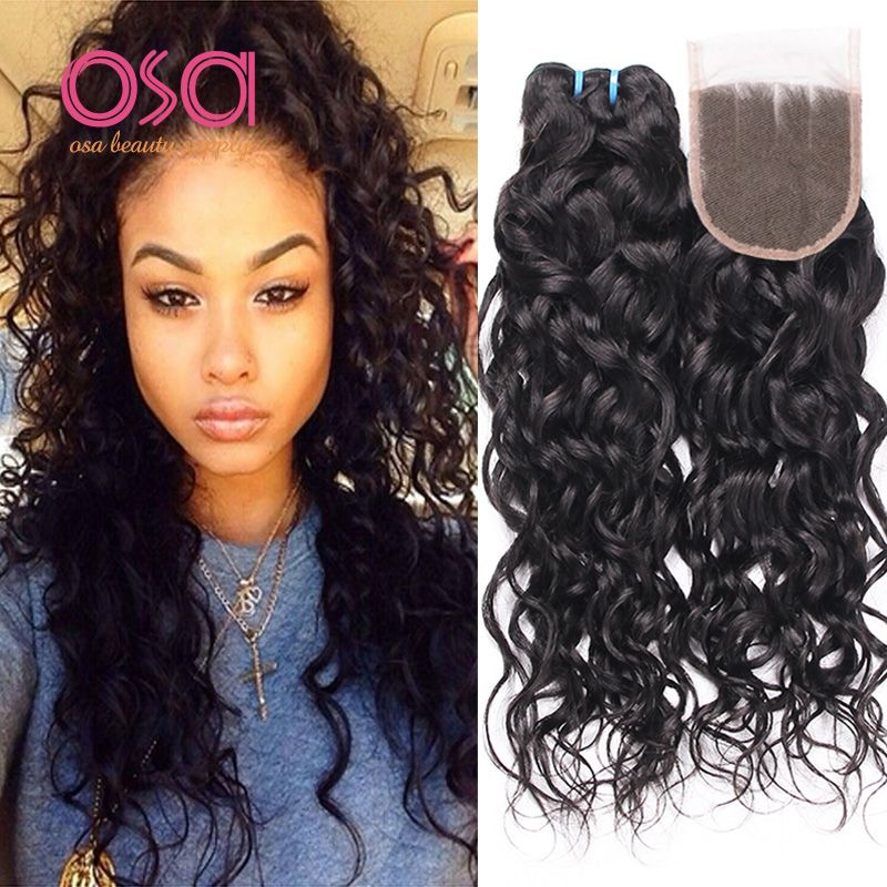 Osa Hair Water Wave 3 Bundle With Lace Closure 1b Ocean Wave