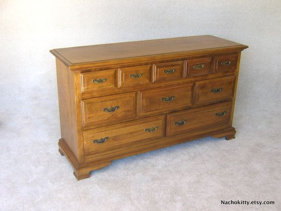 1960s maple dresser early american solid wood by for Solid maple wood bedroom furniture